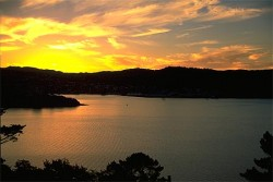 Sunset over Wellington Harbour in New Zealand